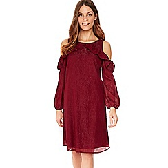 Wallis - Berry metallic frill cold shoulder dress