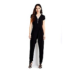 Wallis - Black stretch zip front jumpsuit