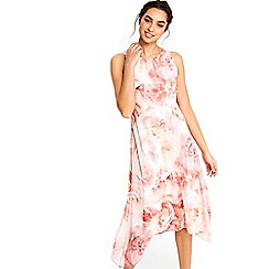 Wallis - Pink rose hanky hem dress