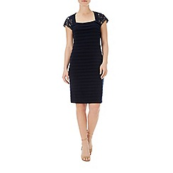 Wallis - Navy lace trim shutter dress