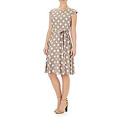 Wallis - Taupe full skirt spot dress