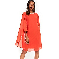 Wallis - Orange embellished cape sleeves dress
