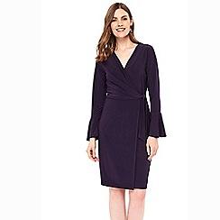 Wallis - Purple flute sleeve jersey wrap dress