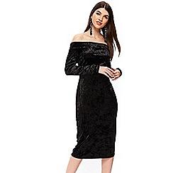 Wallis - Black velvet off the shoulder dress