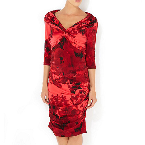 Wallis - Red floral off shoulder dress