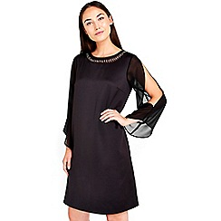 Wallis - Black embellished split sleeve dress