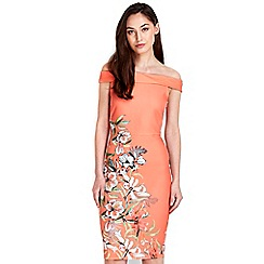 Wallis - Coral floral printed dress
