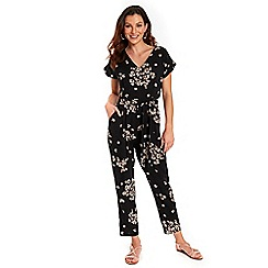 Wallis - Black daisy print jumpsuit