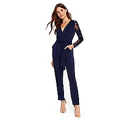 Wallis - Navy embroidered lace jumpsuit