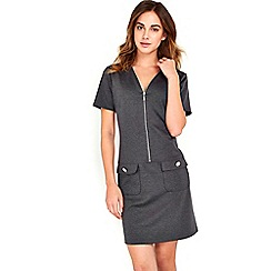 Wallis - Dark Grey Zip Front Shift Dress
