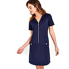Wallis - Navy Zip Front Shift Dress