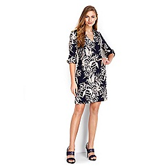Wallis - Navy leaf printed tunic dress