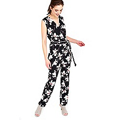 Wallis - Black oriental lily jumpsuit