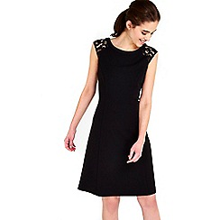 Wallis - Black lace shoulder fit and flare dress