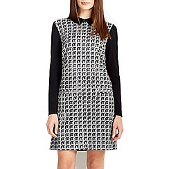 Wallis - Black jacquard collar dress