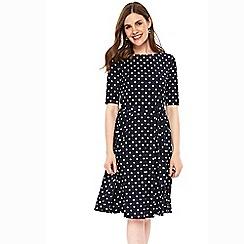 Wallis - Navy polka dot fit and flare dress