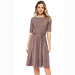 Wallis - Taupe polka dot fit and flare dress