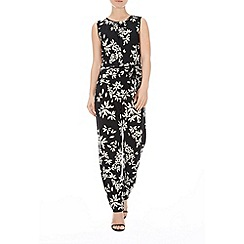 Wallis - Black petal jumpsuit