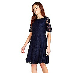 Wallis - Ink floral lace fit and flare dress