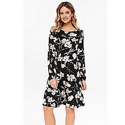 Wallis - Black floral swing dress