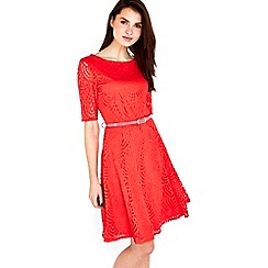 Wallis - Red monochrome lace fit and flare dress