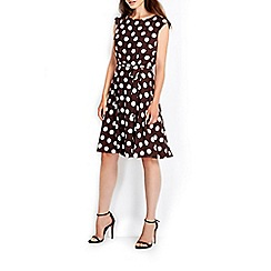Wallis - Brown full skirt spot dress