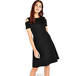 Wallis - Black cold shoulder fit and flare dress