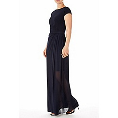 Wallis - Navy pleat insert maxi dress