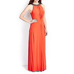 Wallis - Orange embellished neck maxi