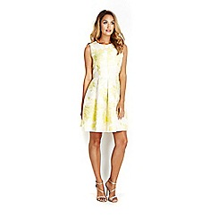 Wallis - Sapphire lemon yellow jacquard prom dress