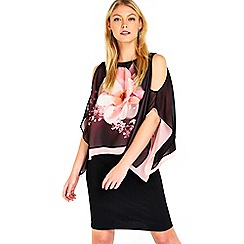 Wallis - Black floral overlayer dress