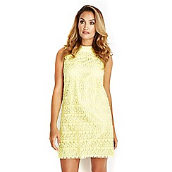 Wallis - Sapphire lemon yellow lace dress