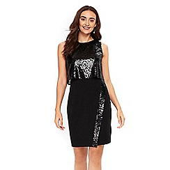 Wallis - Black sequin fitted shift dress