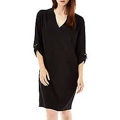 Wallis - Black woven v neck tunic dress