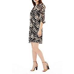 Wallis - Brown animal print shirt dress