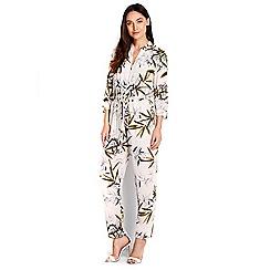 Wallis - Cream palm printed jumpsuit