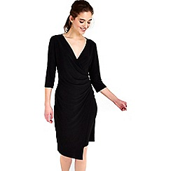 Wallis - Black plain wrap dress