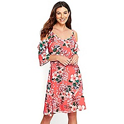 Wallis - Coral blossom fit and flare dress