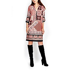 Wallis - Orange print button tunic dress