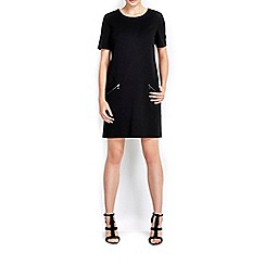 Wallis - Black slant zip ponte dress