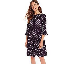 Wallis - Purple spot flute sleeves dress