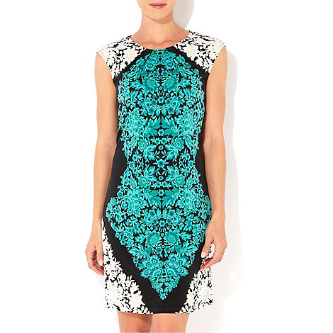 Wallis - Green and white print dress