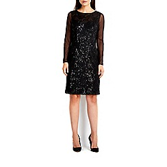 Wallis - Black embroidered sequin lace dress