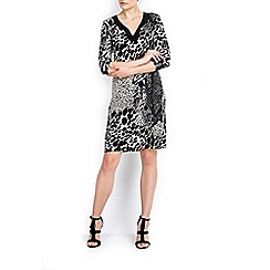 Wallis - Stone animal tie neck shift