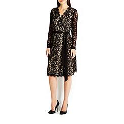 Wallis - Black lace wrap dress