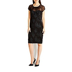 Wallis - Black rose jacquard mesh dress