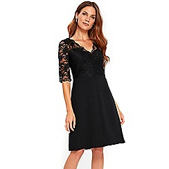 Wallis - Black lace top fit and flare dress