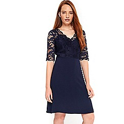 Wallis - Navy lace top fit and flare dress