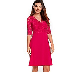 Wallis - Pink lace top fit and flare dress