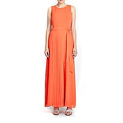 Wallis - Orange sheer pleat maxi dress